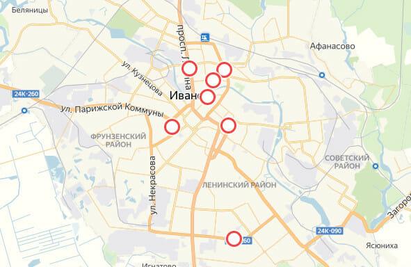 Карта Иваново с отметками аварийных участков дорог«Эвакуаторы 50-33-33»