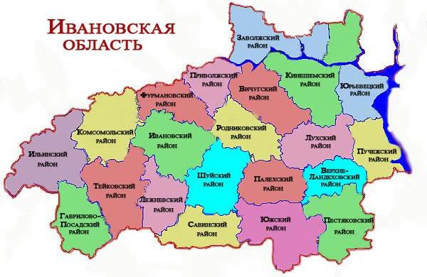 Изображение карты Ивановской области